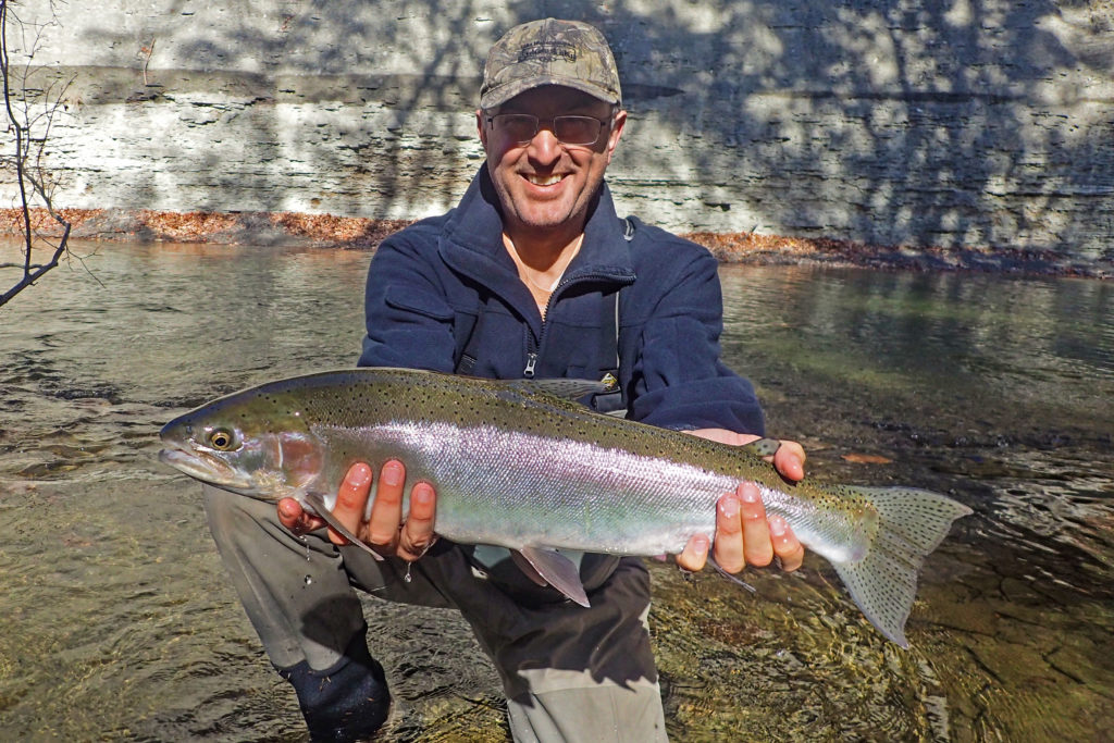 Man holding a Steelhead in Stream